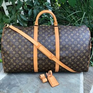 💯LV Keepall Bandouliere 60 •W/STARP & ACCESSORIES